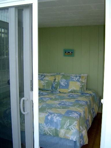 Lime Sorbet Bedroom From Deck Through Sliding Glass Door
